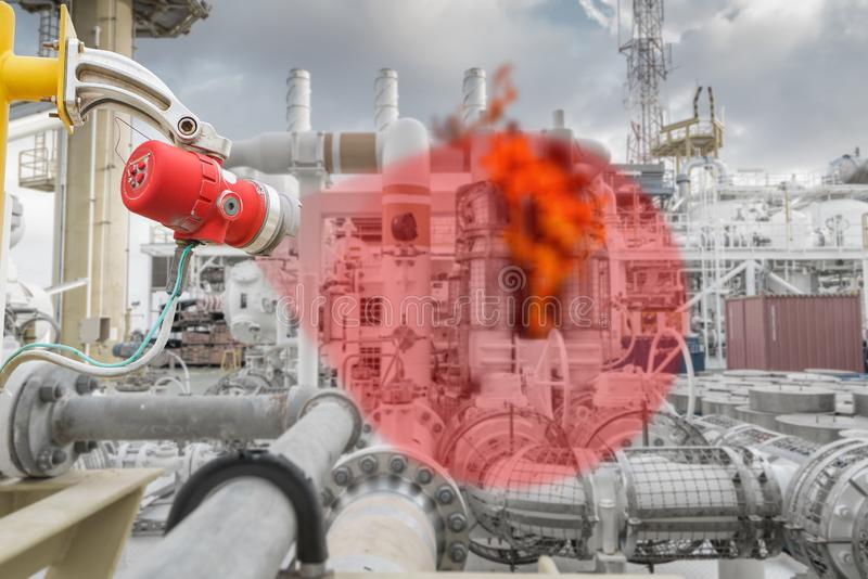 Demonstration of fire and gas detection system and coverage area to detected flame on gas booster compressor at offshore. Demonstration of fire and gas royalty free stock photo