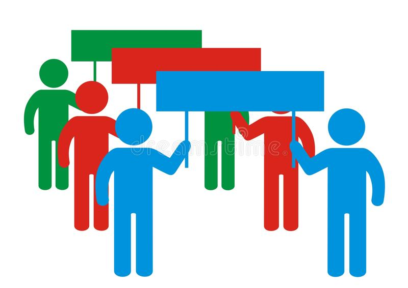 Demonstration, group of people with banners, vector icon royalty free illustration