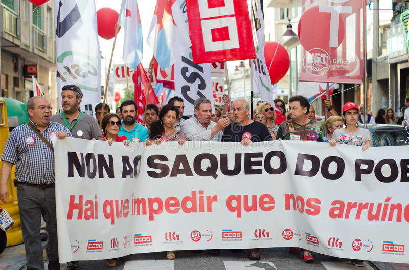 Demonstration head. PONTEVEDRA - JULY 19: Detail of the manifestation of all unions and associations to protest the social cuts, of the Conservative government stock photography