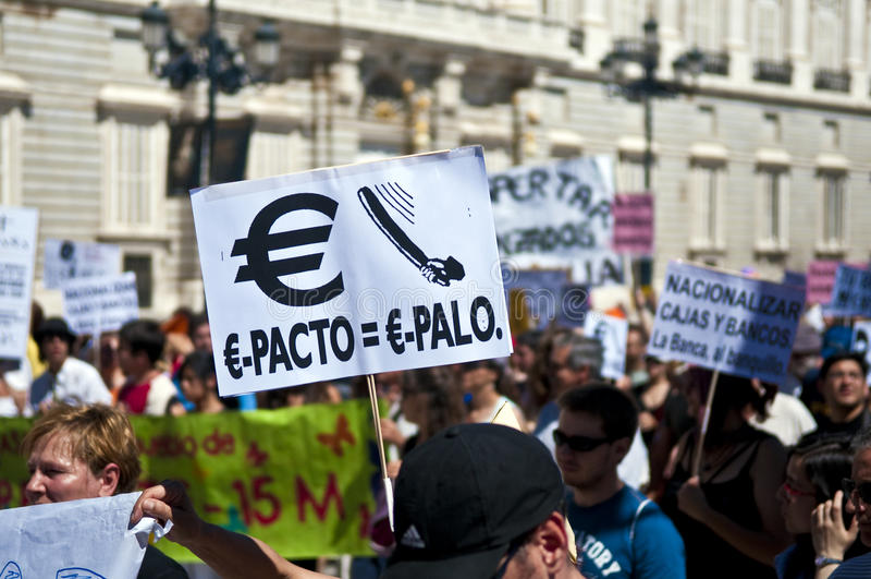 Demonstration in Madrid stock image
