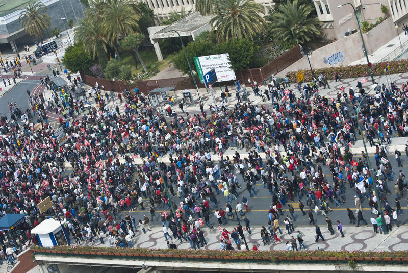 Demonstration in Malaga stock photo