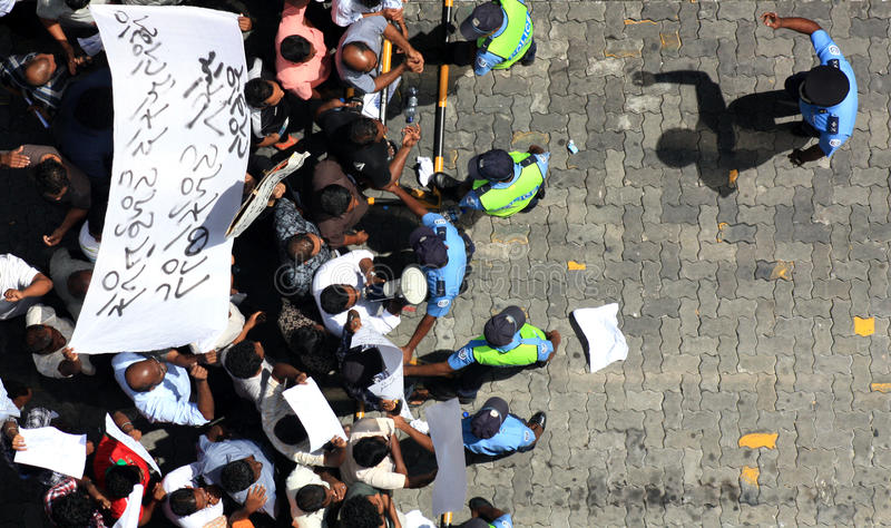 Demonstration in Maldives stockfotografie