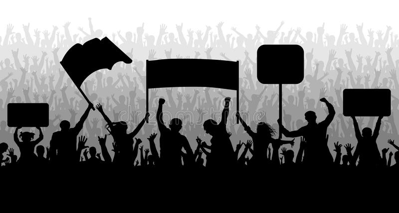 Demonstration, manifestation, protest, strike, revolution. Crowd of people with flags, banners. Sports, mob, fans. vector illustration