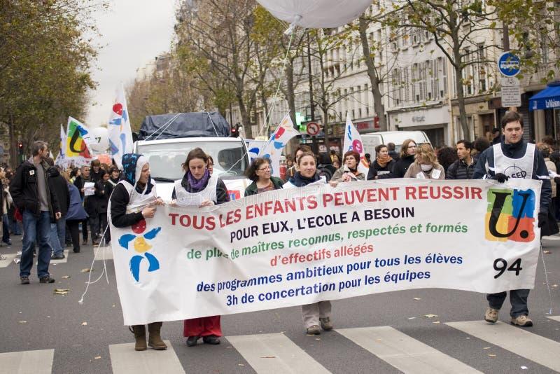 Demonstration in Paris, Frankreich - 20. November 2008 lizenzfreie stockbilder
