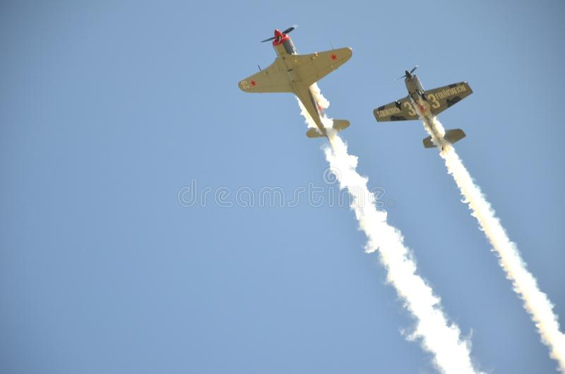 Demonstration perfomance on Poznan Air Show royalty free stock image