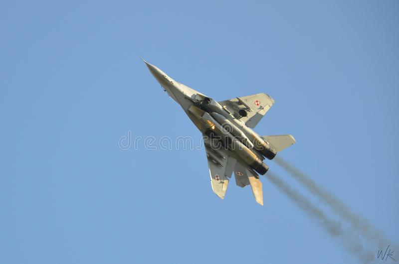 Demonstration perfomance MIG29 on Poznan Air Show royalty free stock photos