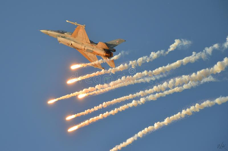 Demonstration perfomance F16 on Poznan Air Show royalty free stock photography