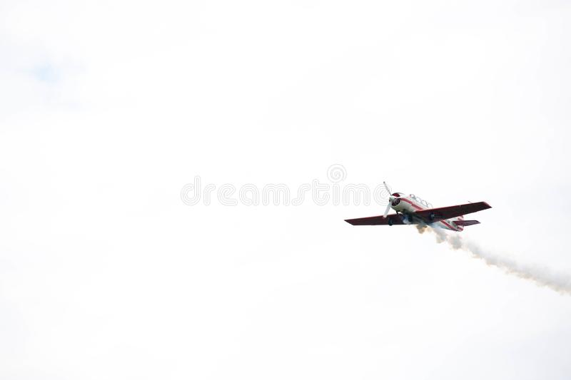 Demonstration performance of sports aircraft royalty free stock image