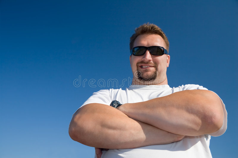 Demonstration of power. Big man of power royalty free stock images