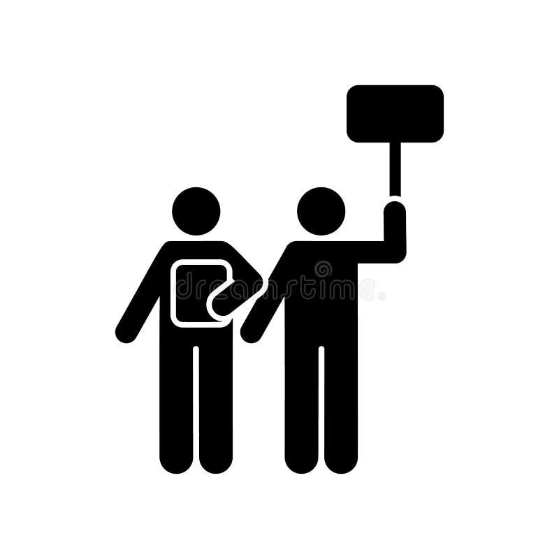 Demonstration protest, folk, slagsymbol Beståndsdel av volontärpictogramsymbolen royaltyfri illustrationer