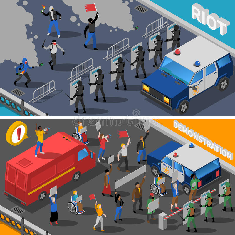 Demonstration Protest Riot 2 Isometric Banners vector illustration