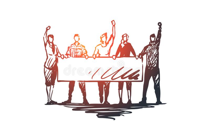 Demonstration, riots, rallies concept. Hand drawn sketch isolated illustration. Demonstration, riots, rallies vector concept. People with signs in hands taking royalty free illustration