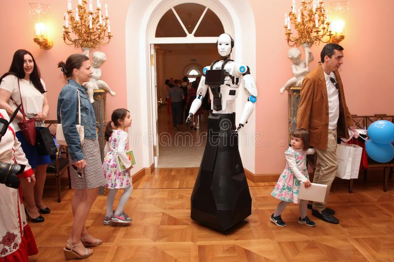 Demonstration of robots. Exhibition royalty free stock photography
