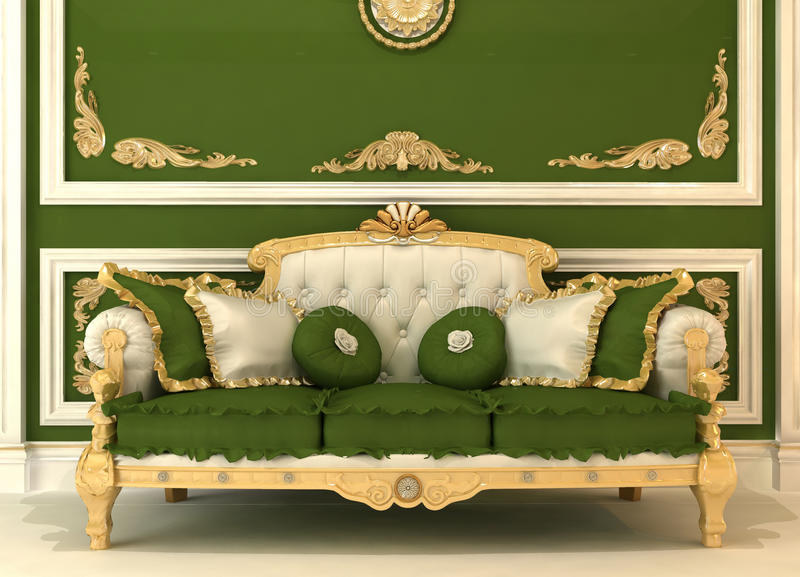 Demonstration of Royal sofa in green room. Demonstration of Royal sofa with pillows in green luxury room royalty free illustration