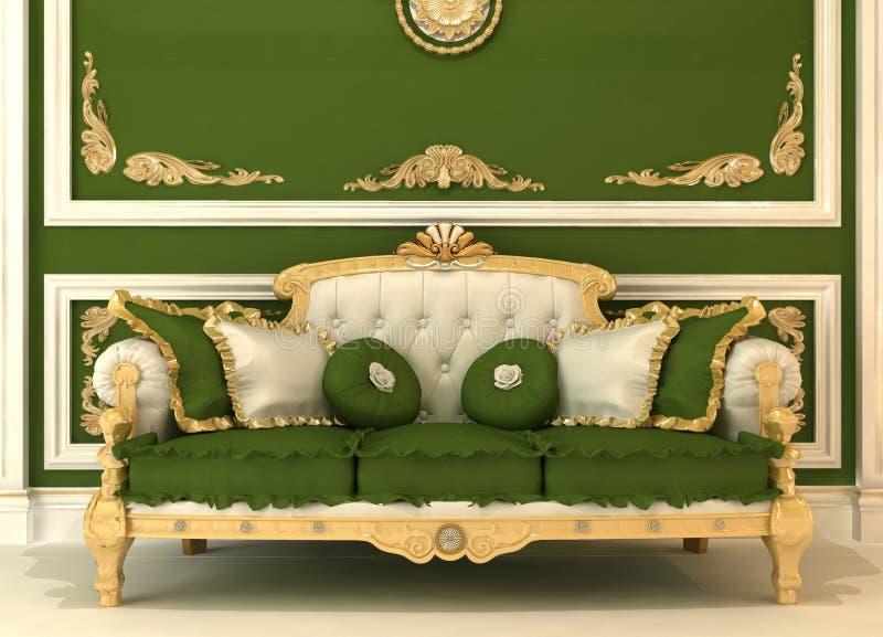 Demonstration of Royal sofa in green room