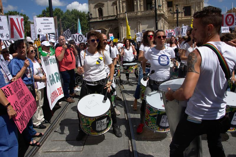 Demonstration in behalf of the Public Health Service 7. This is demonstration in Seville in behalf of the National Health Service and in behalf of a public stock image