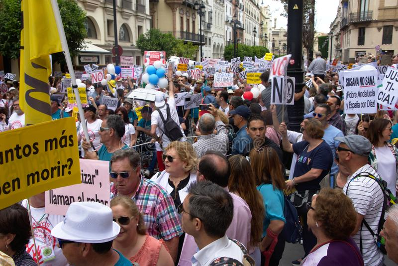 Demonstration in behalf of the Public Health Service 24. This is demonstration in Seville in behalf of the National Health Service and in behalf of a public stock photography