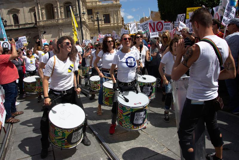 Demonstration in behalf of the Public Health Service 9. This is demonstration in Seville in behalf of the National Health Service and in behalf of a public stock image