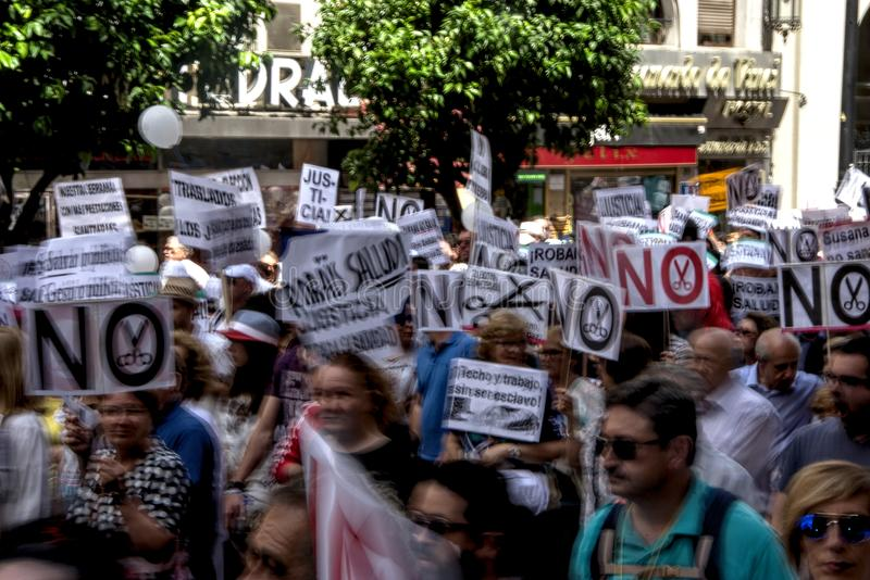 Demonstration in behalf of the Public Health Service 40. This is demonstration in Seville in behalf of the National Health Service and in behalf of a public stock photography