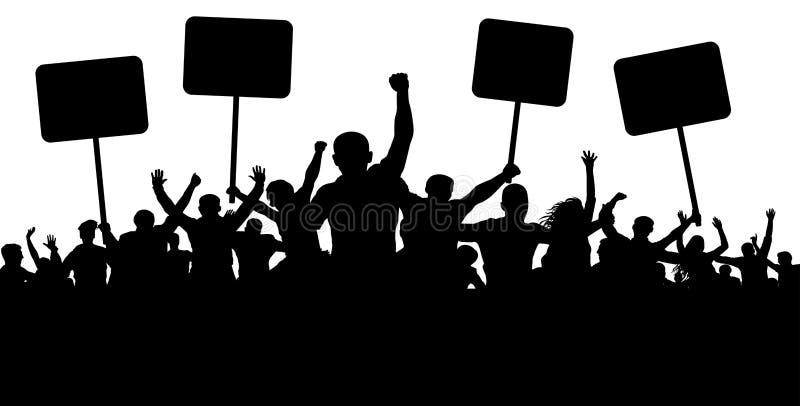 Demonstration slag, manifestation, protest, revolution Konturbakgrundsvektor Sportar folkhop, fläktar folkmassa royaltyfri illustrationer