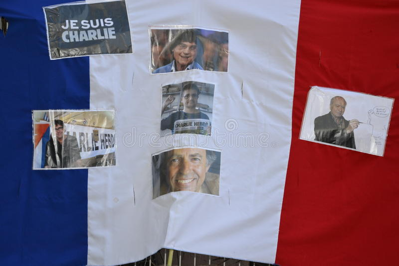 Demonstration som protesterar Charlie Hebdo mord arkivbilder