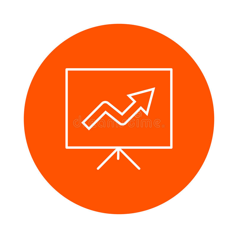 Demonstration stand with growth graphs, monochrome round icon. vector illustration