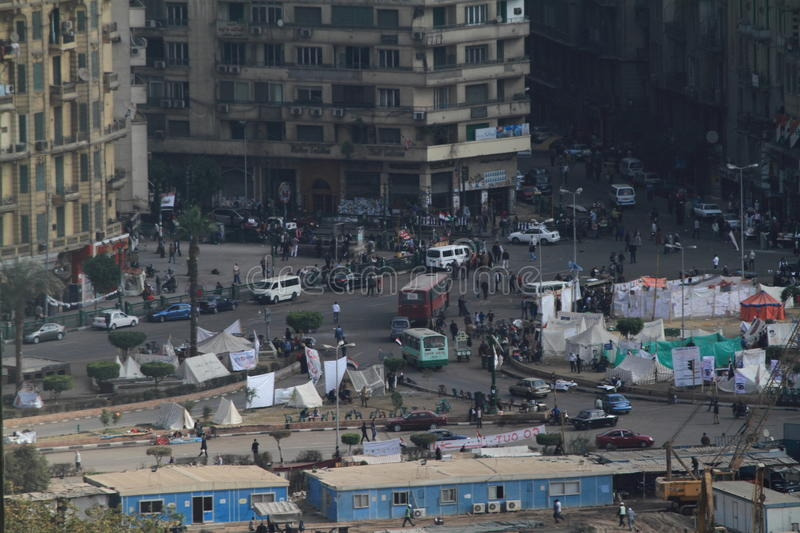 Demonstration in Tahrir Square in Cairo stock image