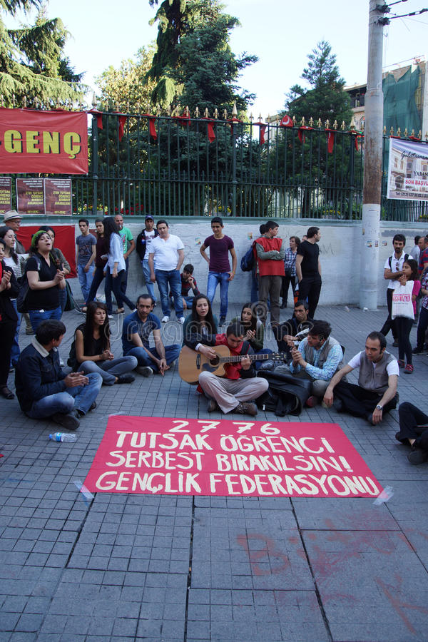 Demonstration to protest the jailing of student activists stock image