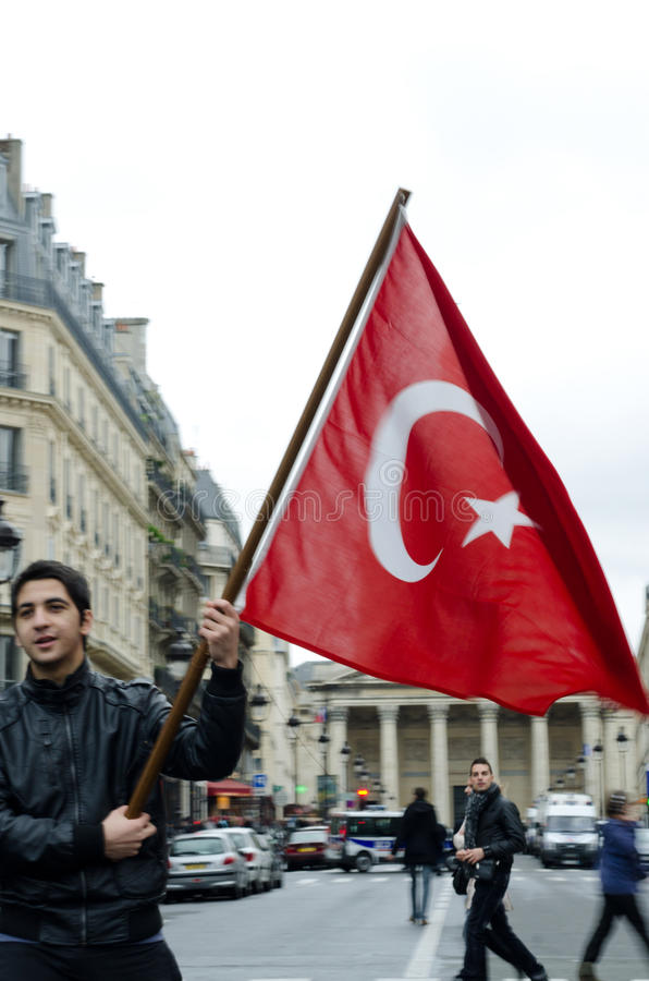 Download Demonstration Of Turkish Community Editorial Photo - Image of flags, paris: 23018861
