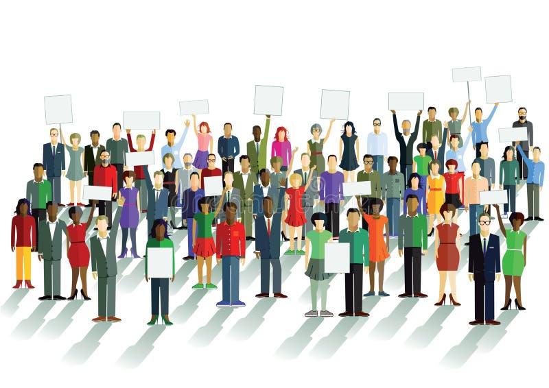 Demonstration und Meinungen lizenzfreie abbildung