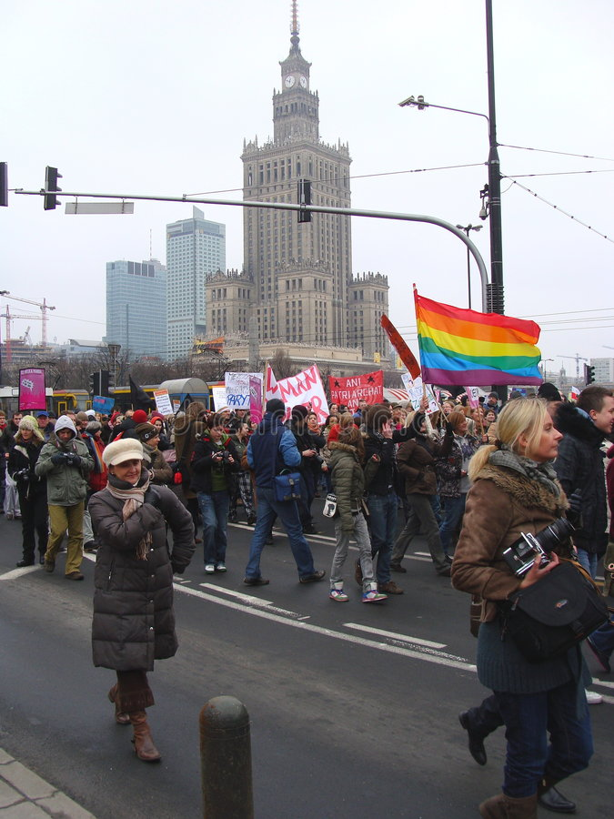 Demonstration in Warsaw stock photos