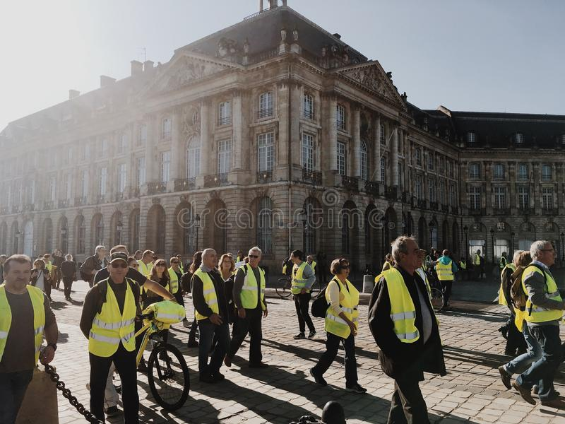 Demonstration yellow vests against increase taxes on gasoline and diesel introduced government of France royalty free stock images
