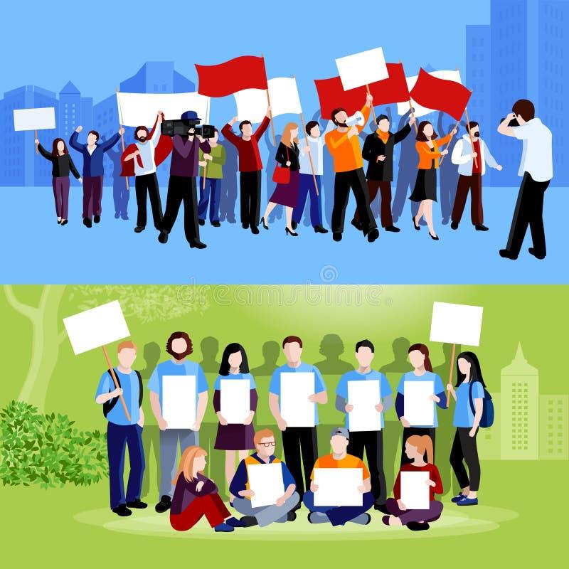 Demonstrations-Protest-Leute-Zusammensetzungen lizenzfreie abbildung