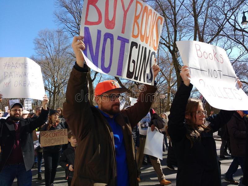Books Not Guns, Books Not Bullets, Education Funding, Gun Control, March for Our Lives, Protest, NYC, NY, USA stock photos