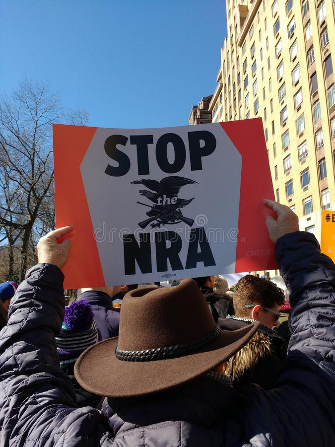 Stop The NRA, March for Our Lives, Protest, Gun Control, NYC, NY, USA stock image