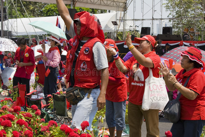Demonstrators converged on the Thai capital. BANGKOK , THAILAND - MARCH 13: Thousands of red-shirted, anti-government demonstrators converged on the Thai capital royalty free stock image