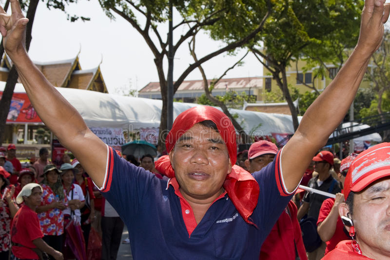 Demonstrators converged on the Thai capital. BANGKOK , THAILAND - MARCH 13: Thousands of red-shirted, anti-government demonstrators converged on the Thai capital stock photos