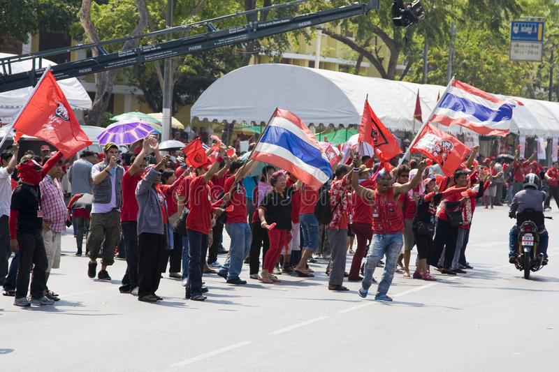 Demonstrators converged on the Thai capital. BANGKOK , THAILAND - MARCH 13: Thousands of red-shirted, anti-government demonstrators converged on the Thai capital stock photography