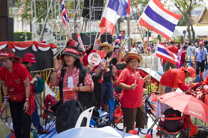Demonstrators converged on the Thai capital. BANGKOK , THAILAND - MARCH 13: Thousands of red-shirted, anti-government demonstrators converged on the Thai capital royalty free stock photo
