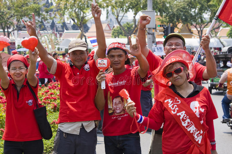 Demonstrators converged on the Thai capital. BANGKOK , THAILAND - MARCH 13: Thousands of red-shirted, anti-government demonstrators converged on the Thai capital royalty free stock images
