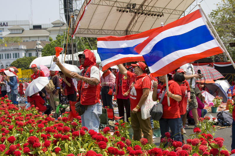 Demonstrators converged on the Thai capital. BANGKOK , THAILAND - MARCH 13: Thousands of red-shirted, anti-government demonstrators converged on the Thai capital stock images