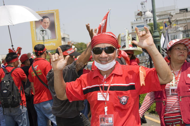 Demonstrators converged on the Thai capital. BANGKOK , THAILAND - MARCH 13: Thousands of red-shirted, anti-government demonstrators converged on the Thai capital royalty free stock photos