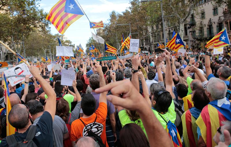 Demonstrators for freedom and against political prisoners in barcelona royalty free stock photos