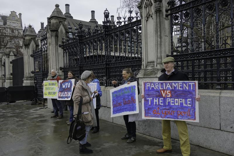 Demonstrators at the gates of the houses of parliament for brexit-1 royalty free stock photo