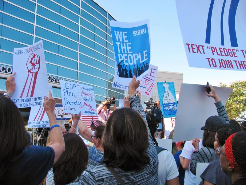 Demonstrators at Los Angeles area healthcare rally against Republican Trumpcare royalty free stock images