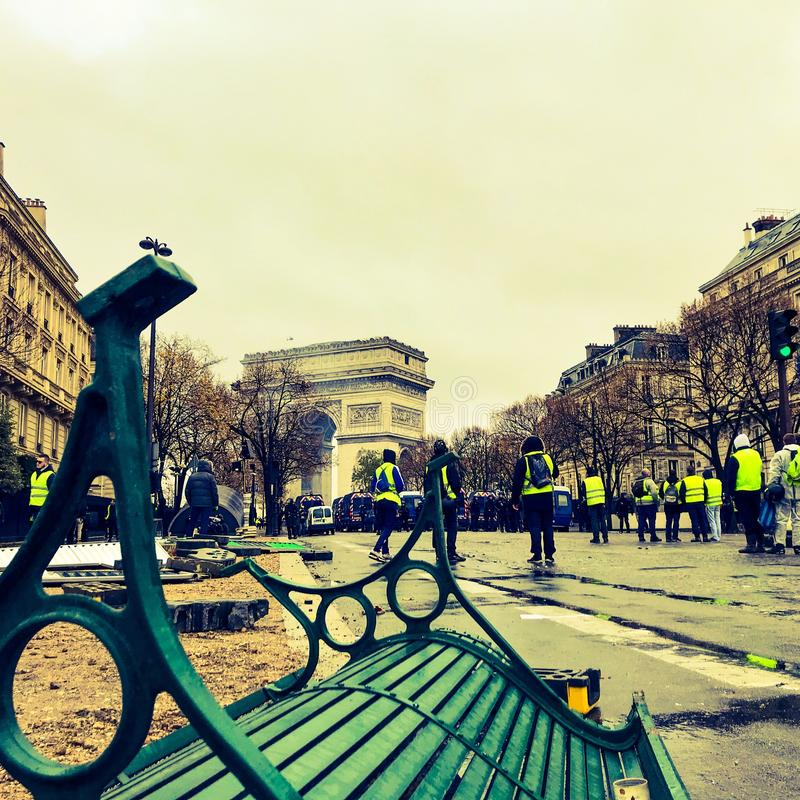 Demonstrators during a protest in yellow vests stock photos