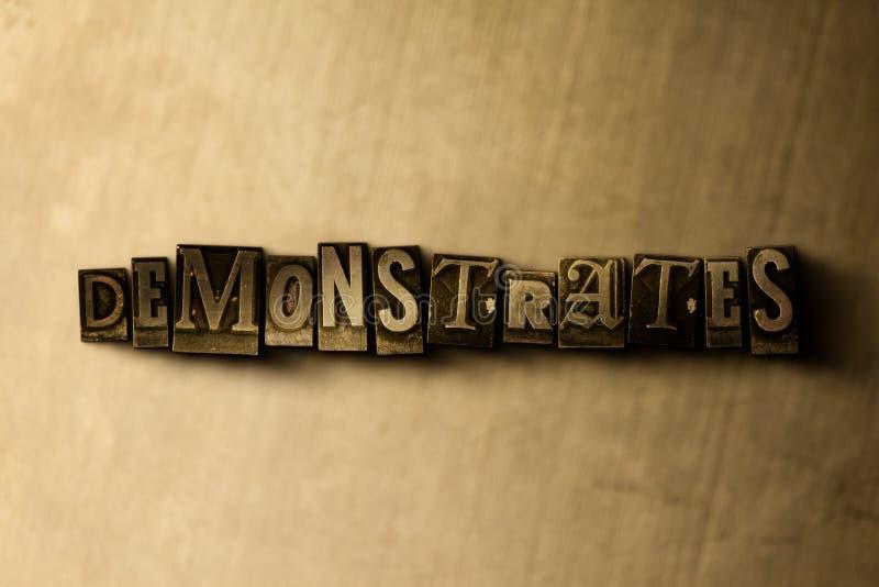 DEMONSTRUJE - zakończenie grungy rocznik typeset słowo na metalu tle ilustracji