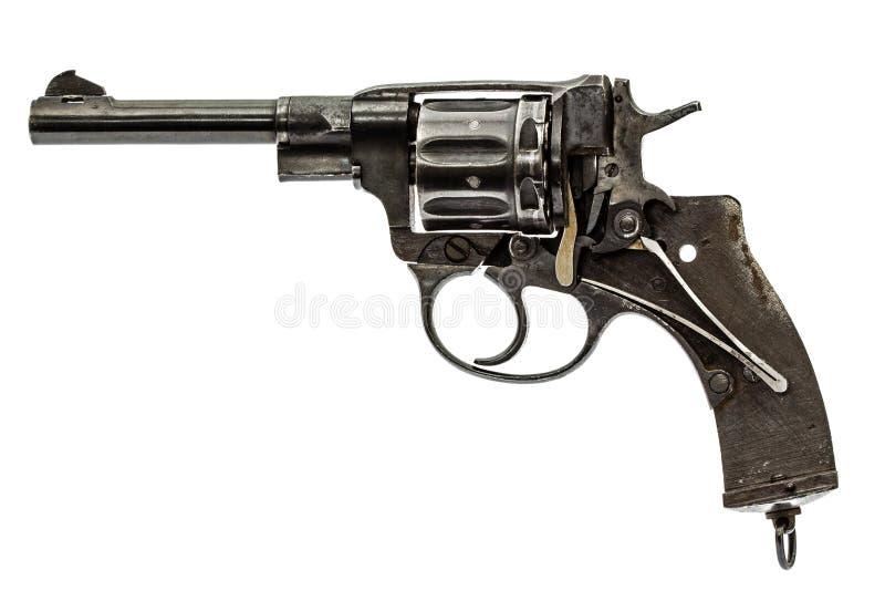 Demontera revolver, pistolmekanism som isoleras på vit backg royaltyfri foto