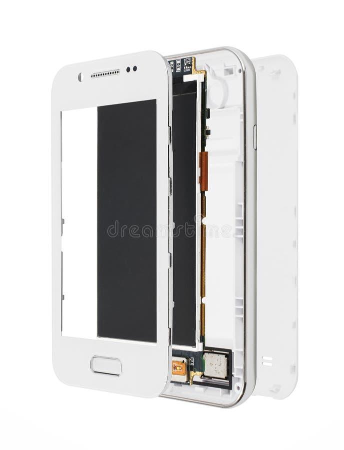 Demontera smartphone som isoleras på vit royaltyfri foto