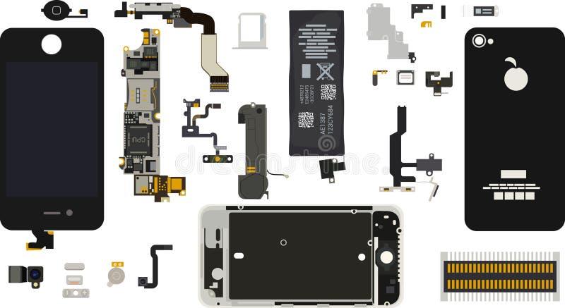 Demonteraa Iphone 4S delar vektor illustrationer